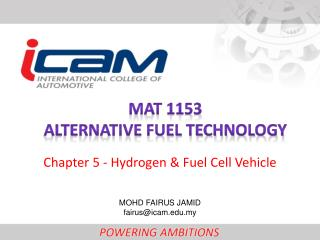 MAT 1153 Alternative fuel technology