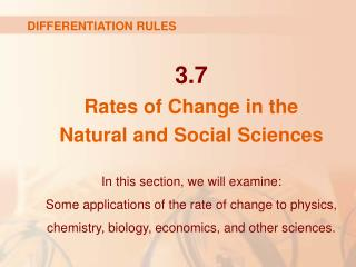 3.7 Rates of Change in the  Natural and Social Sciences