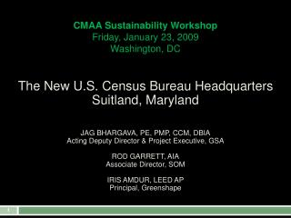 CMAA Sustainability Workshop Friday, January 23, 2009 Washington, DC
