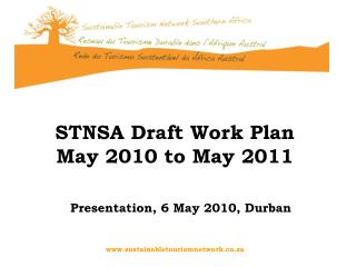 STNSA Draft Work Plan  May 2010 to May 2011