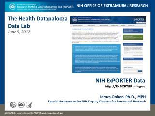 NIH ExPORTER Data http ://ExPORTER.nih