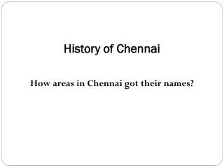 History of Chennai