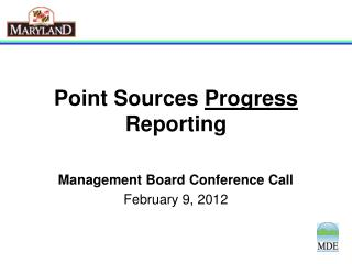 Point Sources  Progress  Reporting