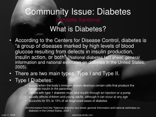 Community Issue: Diabetes Henrietta Sandoval