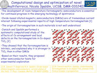 Computational design and optimization of novel multiferroics, Nicola Spaldin, UCSB, DMR-0312407