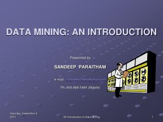 DATA MINING: AN INTRODUCTION