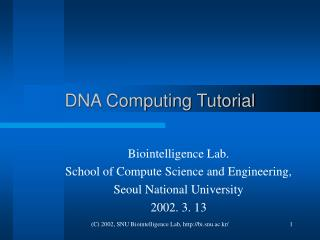 DNA Computing Tutorial