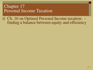 Chapter 17  Personal Income Taxation