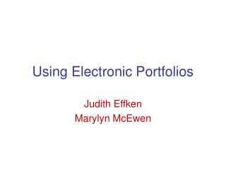 Using Electronic Portfolios