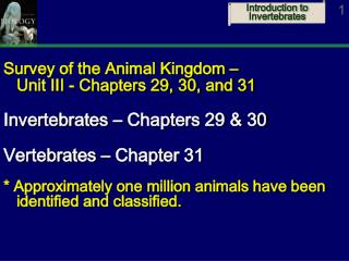 Survey of the Animal Kingdom –  Unit III - Chapters 29, 30, and 31 Invertebrates – Chapters 29 & 30 Vertebrates