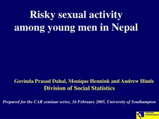 Risky sexual activity among young men in Nepal