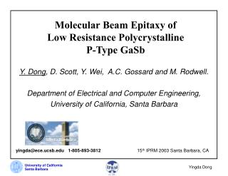 Molecular Beam Epitaxy of  Low Resistance Polycrystalline  P-Type GaSb
