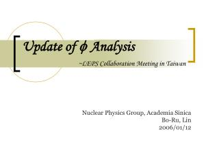 Update of  ? Analysis ~LEPS Collaboration Meeting in Taiwan
