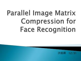 Parallel Image Matrix Compression for Face  Recognition
