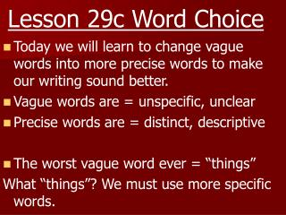 Lesson 29c Word Choice