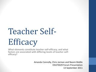 Teacher Self-Efficacy