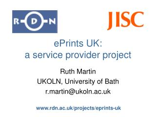 ePrints UK:  a service provider project