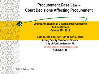 Procurement Case Law –  Court Decisions Affecting Procurement