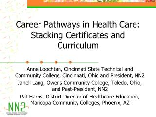 Career Pathways in Health Care: Stacking Certificates and Curriculum