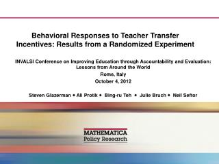 Behavioral Responses to Teacher Transfer Incentives: Results from a Randomized Experiment