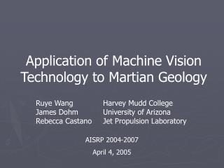 Application of Machine Vision Technology to Martian Geology