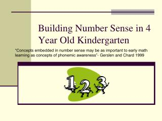 Building Number Sense in 4 Year Old Kindergarten