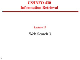 CS/INFO 430 Information Retrieval