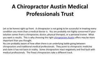 A Chiropractor Austin Medical Professionals Trust