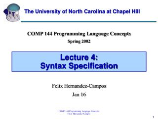 Lecture 4:  Syntax Specification