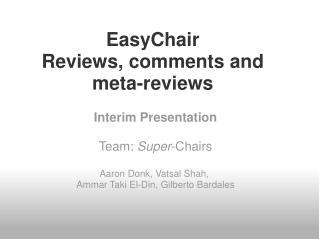 EasyChair Reviews, comments and meta-reviews
