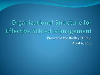 Organizational Structure for Effective School Management