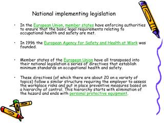 National implementing legislation
