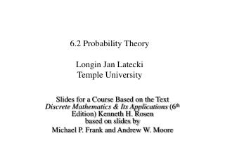 6.2 Probability Theory Longin Jan Latecki Temple University
