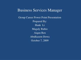 Business Services Manager