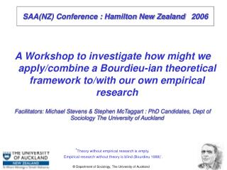 SAA(NZ) Conference : Hamilton New Zealand    2006