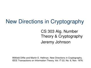 New Directions in Cryptography