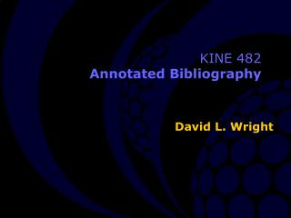 KINE 482 Annotated Bibliography