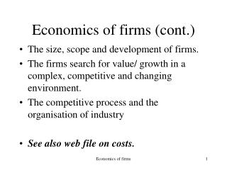 Economics of firms (cont.)