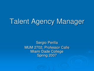 Talent Agency Manager