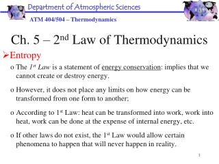 Ch. 5 – 2 nd  Law of Thermodynamics