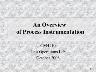 An Overview  of Process Instrumentation