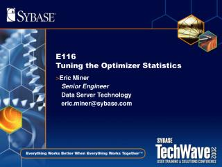 E116  Tuning the Optimizer Statistics