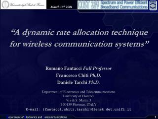 """A dynamic rate allocation technique  for wireless communication systems"""