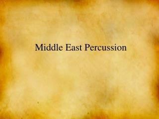 Middle East Percussion