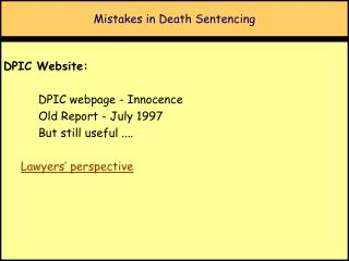 Mistakes in Death Sentencing