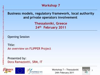 Workshop 7 –  Thessaloniki 24th  February  2011 p