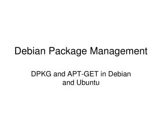Debian Package Management