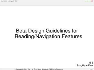 Beta Design Guidelines for Reading/Navigation Features