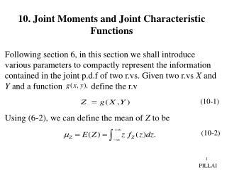 10. Joint Moments and Joint Characteristic Functions