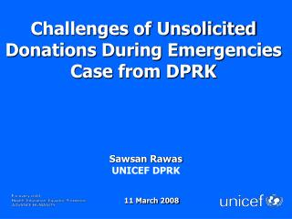 Challenges of Unsolicited Donations During Emergencies   Case from DPRK